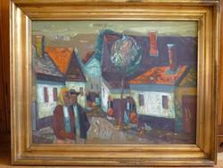 Eladó Xantus Gyula: Falusi utca című olaj, farost Képcsanokos festménye