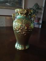 Gyönyörű Zsolnay eozin szecessziós, füles, pipacsos váza, hibátlan