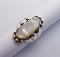 Gyöngyház berakásos ezüst gyűrű