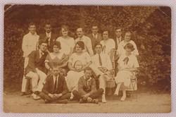 0V469 Régi fekete-fehér tenisz csoportkép képeslap