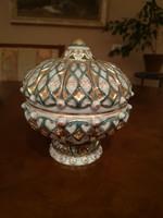 Kuriózum! Különleges türkiz Zsolnay gazdagon festett perzsa mintás ománi bonbonier nagy, hibátlan