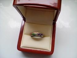 Antik különleges aranyozott rekesz zománc gyűrű