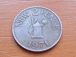 GUERNSEY 2 NEW PENCE 1971 SZÉLMALOM