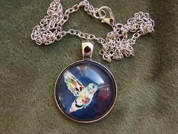 Ezüst színű nyaklánc kolibri medállal (új)