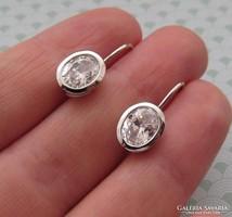 Ezüst cirkónia köves fülbevaló patentzáras ovális cirkónia kővel új ékszer