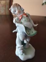 Ritkaság! Herendi kislány figura zöld pöttyös ruhában, macskával, hibátlan