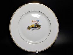 Zsolnay Serpollet autó képes tányér