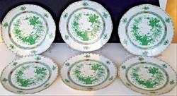 Herendi zöld Indiai kosár mintás 6 db lapos tányér