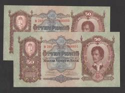 50 pengő 1932.  2 db sorszám követő!  aUNC!!