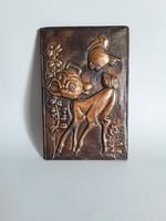Őzikés,Bambis vörösréz falikép,falidísz gyerekszobába
