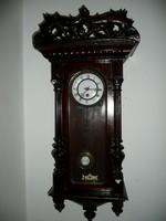 Gyönyörűen faragott, hátul jelzett antik ónémet rugós óra