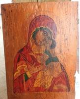 Festett IKON  -szentkép festmény -  régi darab XX: sz.
