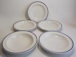 5 darab kék szegélyes régi Alföldi  leveses tányér