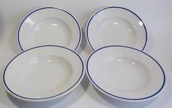 4 darab kék szegélyes régi Zsolnay leveses tányér
