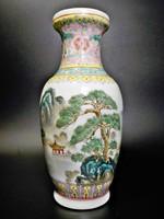 Kézzel festett kínai tájképes váza