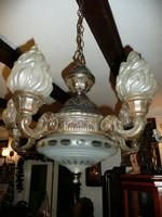 Álomszép, antik öt ágú EMPIRE bronz csillár, csiszolt üvegekkel, újra kábelozva