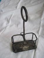 Antik ezüstözött alpakka fém fűszertartó állvány monogrammal