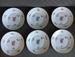 Antik Herendi, 6 személyes tányér készlet - Ritka madaras Viktória motívum