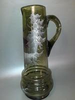 Antik  nagy méretű festett szarvasos szakított üveg kancsó, kiöntő