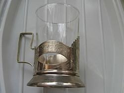 4 alpakka, ezüstözött teás pohár szamovárhoz is