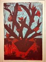 Mazsaroff Miklós: Kaktusz piros virággal