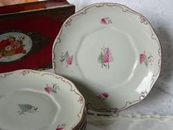 Levél mintás régi tollazott hollóházi porcelán süteményes tányér 6 db