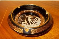 Görög,kézi festésű, 24 K.aranyozott hamuzó, hamutál.