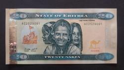 Eritrea 20 Nakfa UNC bankjegy 2012