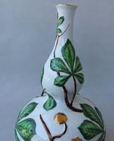 HERENDI Óriás Váza, palack alakú, relieffel.