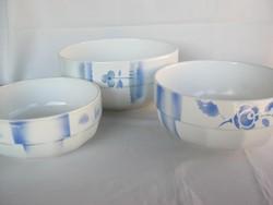 Gránit kerámia kék virágos 3 db-os tál készlet