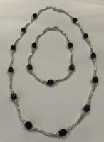 Ónix kővel díszített ezüst szett