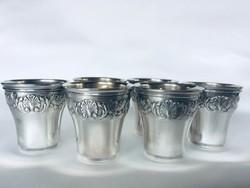 Ezüst likőrös &vodkás poharak,(6 db)