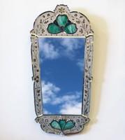 0I482 Gyönyörű antik velencei tükör 54 x 112 cm