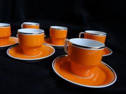 Hollóházi narancssárga mokkás készlet
