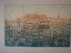 Eladó Gross Arnold, A Kék álmok városa című, színes, hibátlan rézkarca. Aukciós rekordot döntött mű.