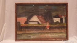 Jelzett pasztel festmény falusi táj , házak