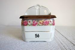 Porcelán rózsás sótartó, vintage