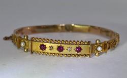 Szép antik  rubin,gyémánt,gyöngy aranykarkötő