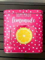 Vintage kekszes doboz újszerű állapotban pink pöttyös citromos mintával nyitható oldalsó adagolóval