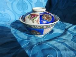 Japán kézzel festett Ming stílusú jelzett fedeles tároló - bonbonier / asztalközép