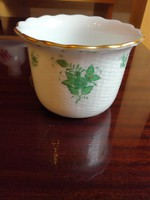 Herendi zöld Apponyi mintás porcelán kaspó