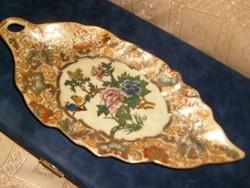 Antik Luxus hibátlan Arany aplikációs Chinai madaras porcelán Yuchengfeng,.tál+ NÉMETŰL+ ANGOLUL