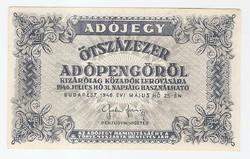 Ötszázezer Adópengő ( Adójegy 500000 Adópengőről ) 1945 Május 25.  EF