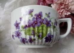 Régi ibolyás teás csésze sérült