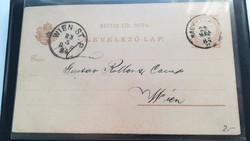 1882-es 2 kr levelezőlap Nagy-Károly - Wien ST.P bélyegzővel