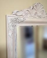Fehèr pácolt faragott tömörfa hálószoba tükör