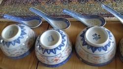 4 db keleti tálka + kanál, rizsmintás