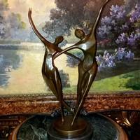 Art deco táncoló pár - bronz szobor