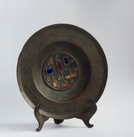 Retro réz/bronz iparművész falitányér színes zománc díszítéssel
