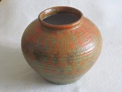 Régi öblös Tófej padlóváza nagyméretű kerámia váza